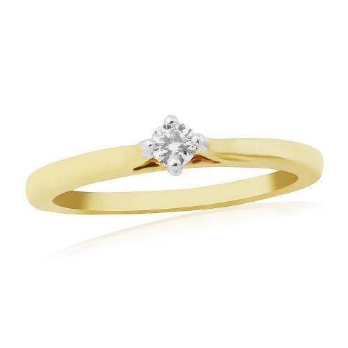 Solitaire Single Stone Four Claw Engagement Ring Yellow Gold 10 Points